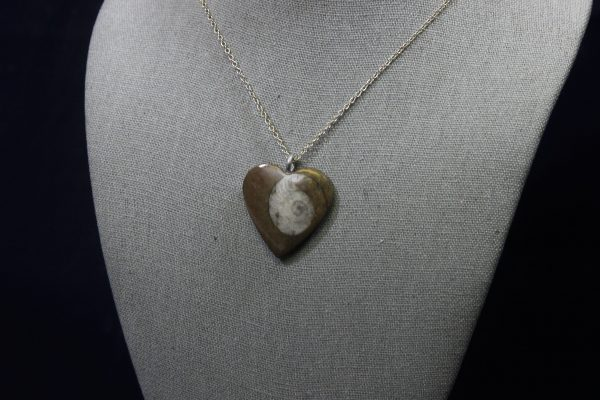 Ammonite Fossil Heart Pendant side view