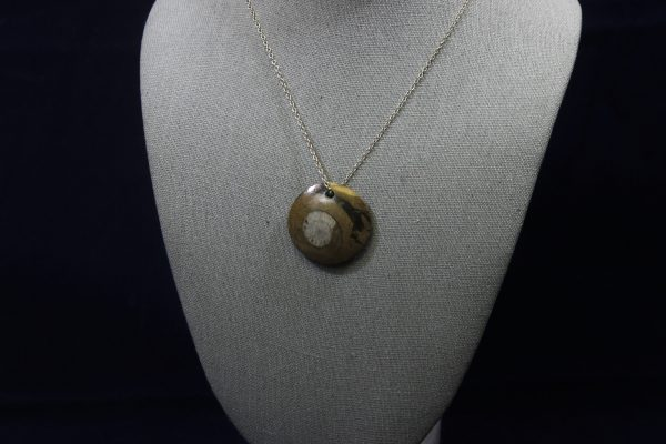 Round Ammonite Fossil Pendant side view
