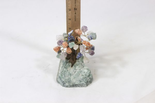 Mixed Gemstone Crystal Points Tree with Aventurine base next to ruler for size comparison