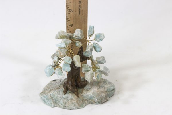 Small Amazonite Gemstone Tree next to ruler for size comparison