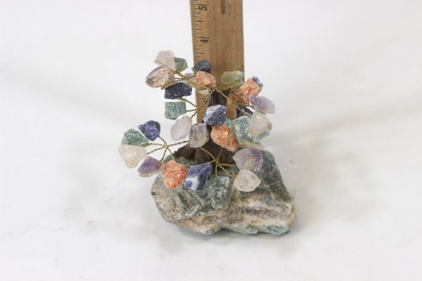 Mixed Gemstone Crystal Points Tree with Amazonite Base next to ruler for size comparison