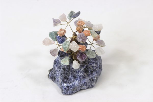 Mixed Crystal Points Gemstone Tree with Sodalite Base front view