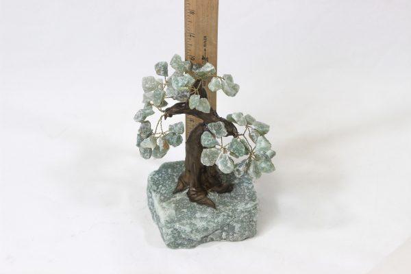 Medium Aventurine Gemstone Tree with ruler for size comparison