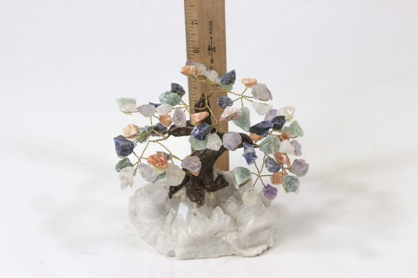 Mixed Crystal Gemstone Tree with Crystal Base with ruler for size comparison