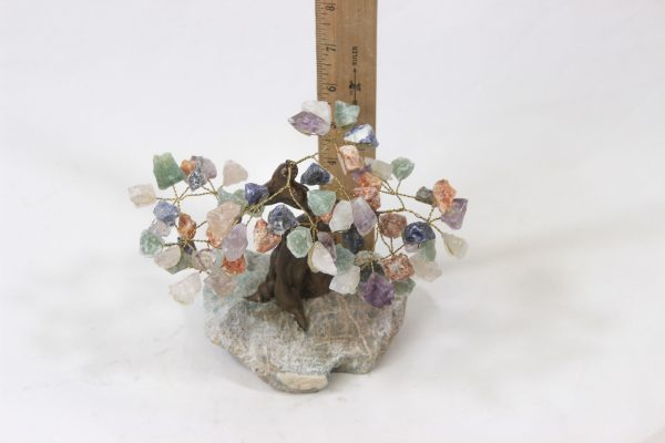 Medium Mixed Gemstone Crystal Points Tree with Amazonite Base with ruler for size comparison