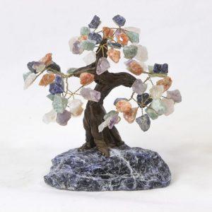 Mixed Gemstone Crystal Points Tree with Sodalite Base Medium