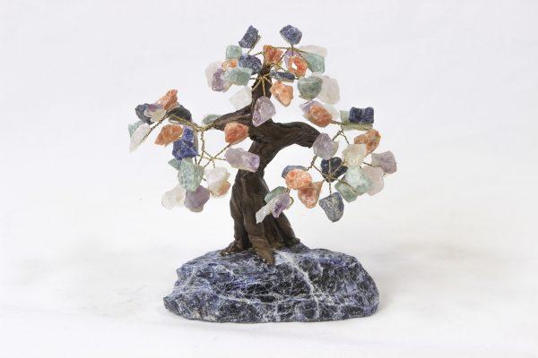 Medium Mixed Gemstone Crystal Points Tree with Sodalite Base