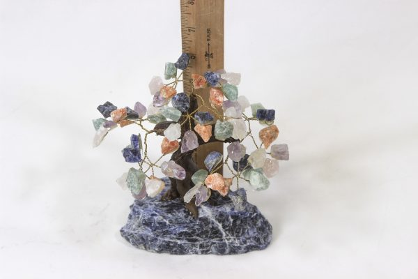 Medium Mixed Gemstone Crystal Points Tree with Sodalite Base with ruler for size comparison