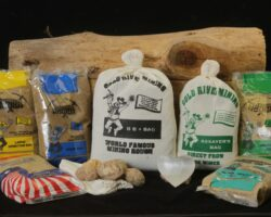 Assortment of gem panning kits and mining bags