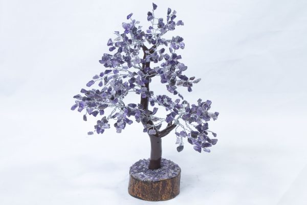 500 stone Amethyst Tree with Wood Base