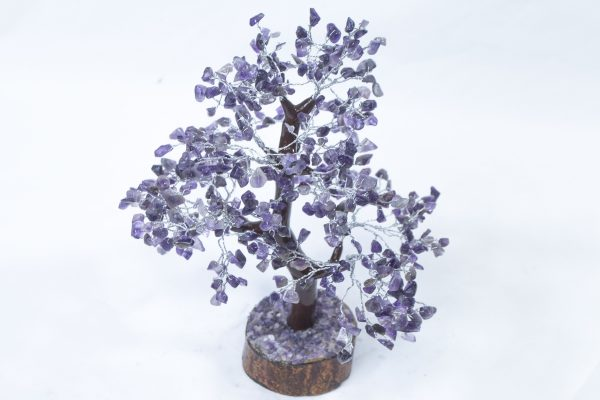 500 stone Amethyst Tree with Wood Base front view