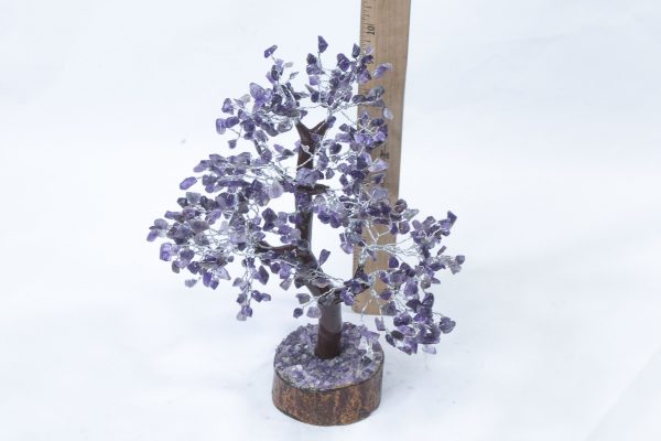 500 stone Amethyst Tree with Wood Base with ruler to show size