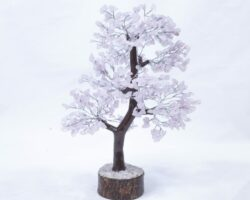 500 stone Rose Quartz Tree with Wood Base front view