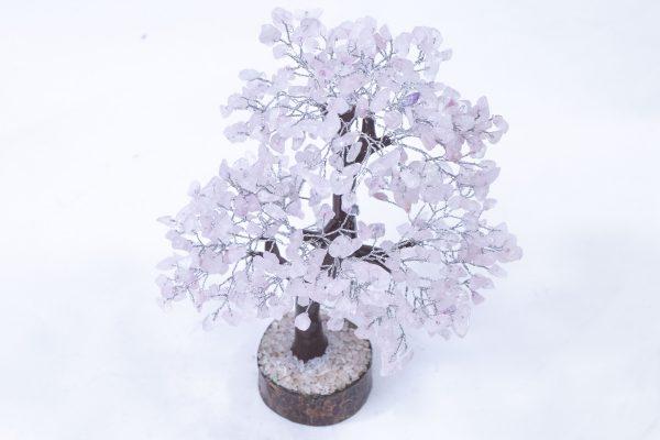 500 stone Rose Quartz Tree with Wood Base