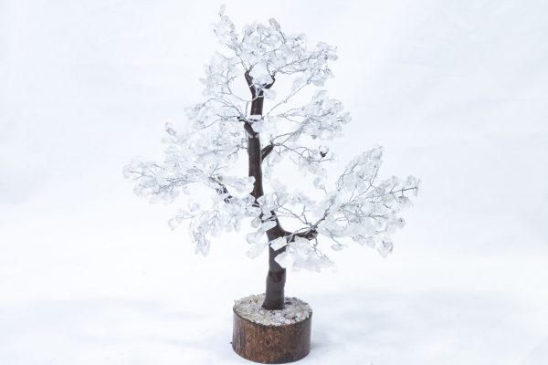 500 stone Crystal Tree with Wood Base front view