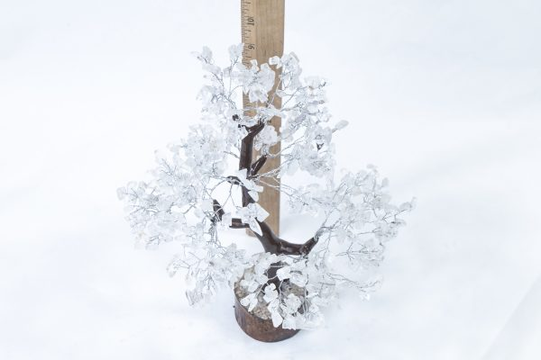 500 stone Crystal Tree with Wood Base with ruler to show size