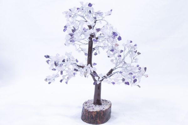 500 stone Amethyst Rose Tree with Wood Base front view