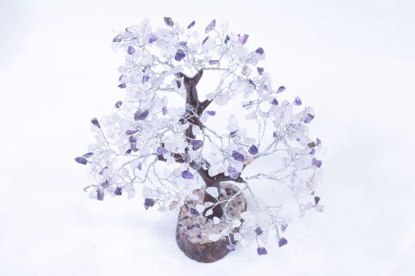 500 stone Amethyst Rose Tree with Wood Base