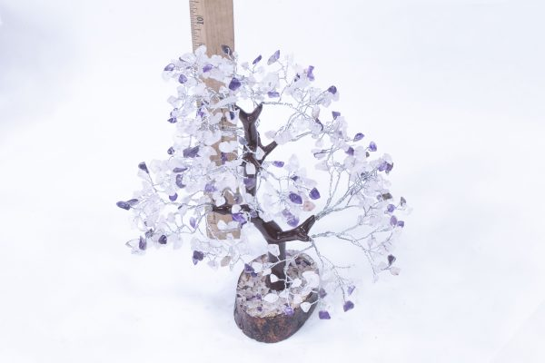 500 stone Amethyst Rose Tree with Wood Base with ruler to show size