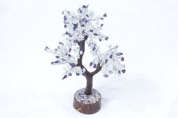 500 stone Amethyst and Crystal Tree with Wood Base