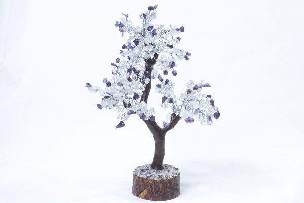 500 stone Amethyst and Crystal Tree with Wood Base front view