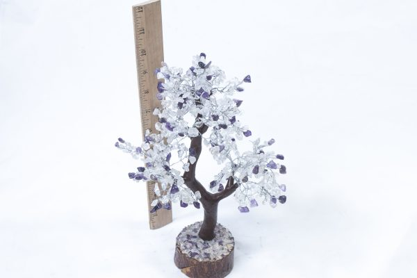 500 stone Amethyst and Crystal Tree with Wood Base with ruler to show size