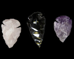 Set of Amethyst, Rose, and Obsidian Arrowheads