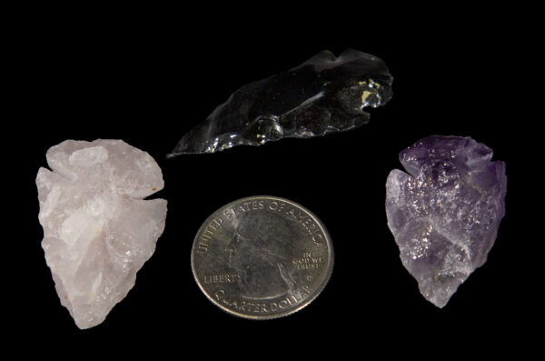 Amethyst, Rose, and Obsidian Arrowheads with quarter to show size