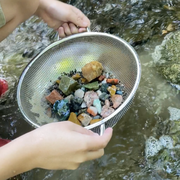 This is a photo of gemstone mining with the Kids Love Rocks Bonanza Box