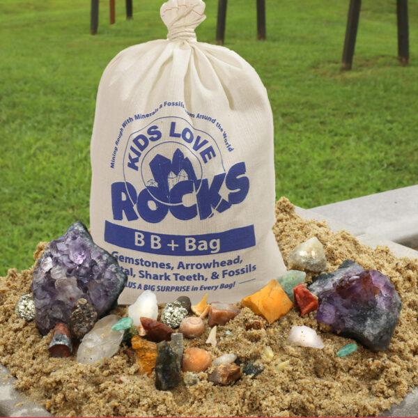 This is an image of Kids Love Rocks BB+ Gemstone Mining Bag