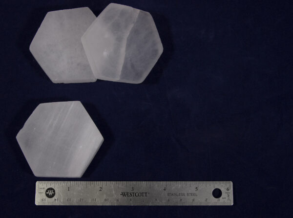 Hexagon Selenite Charging Station with ruler to show size