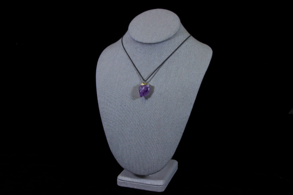 Purple Amethyst Pointed Pendant on Necklace