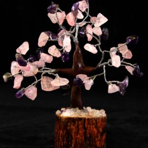 Rose Quartz and Amethyst Chip Gemstone Tree