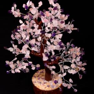 500 Chip Rose Quartz and Amethyst Tree