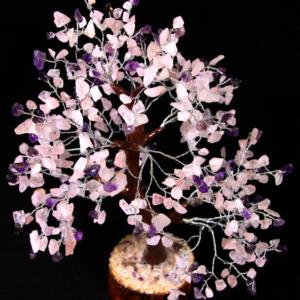 500 Rose Quartz and Amethyst Chips Tree