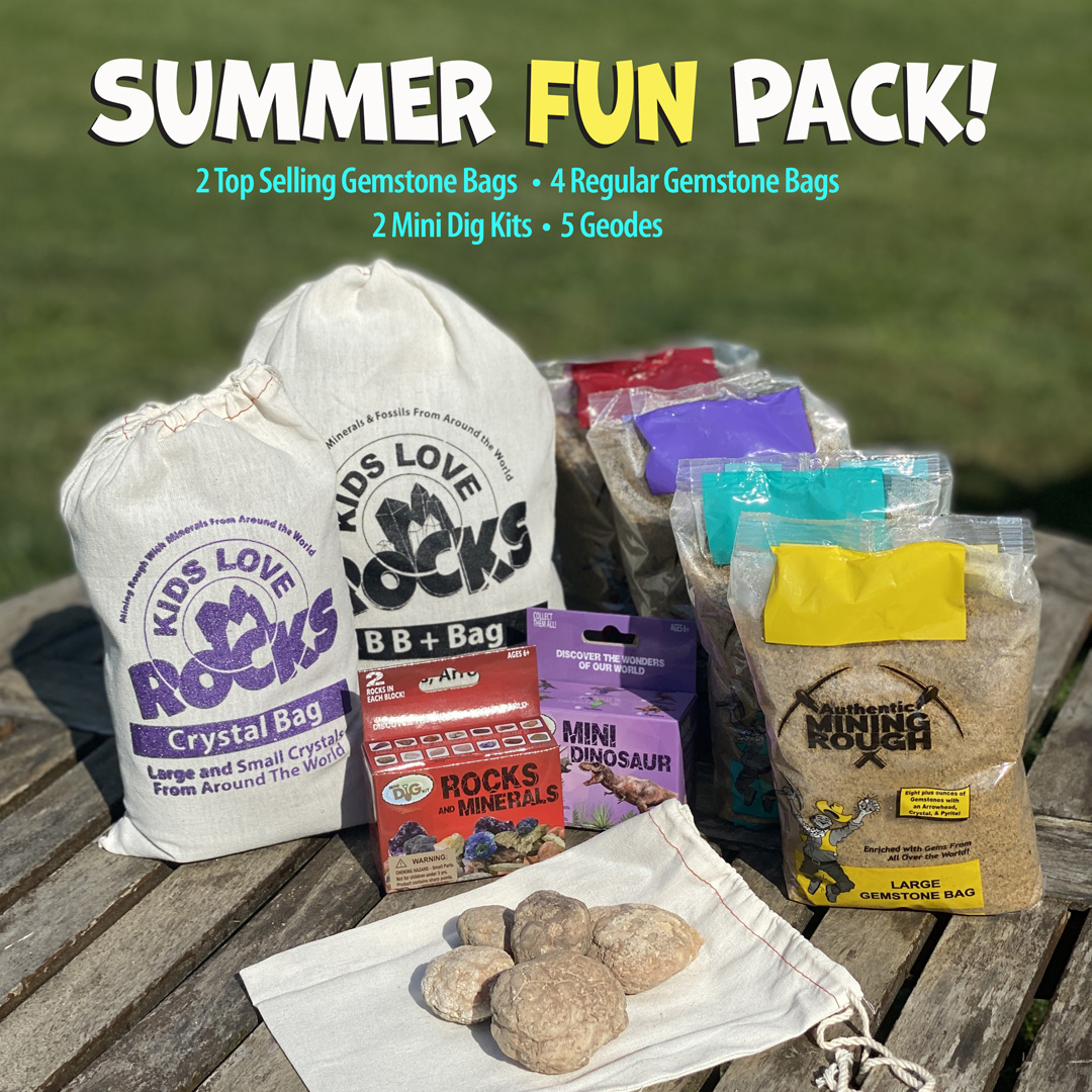 Summer fun pack with gemstone mining bags