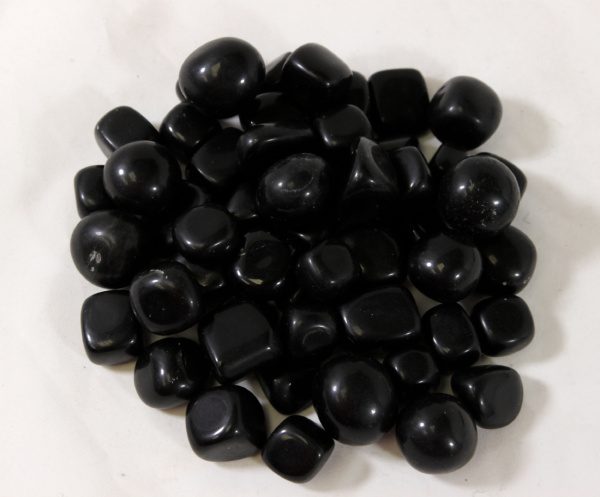 Pile of Small Tumbled Black Obsidian Stones