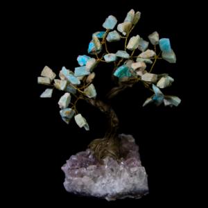 Amazonite Crystal Point Tree with Amethyst Base, Medium