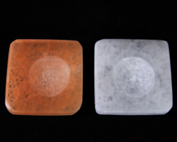 Pair of Square Selenite Sphere Base Stones