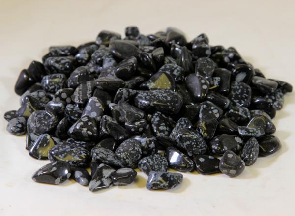 Pile of Tumbled Black Snowflake Obsidian Stones