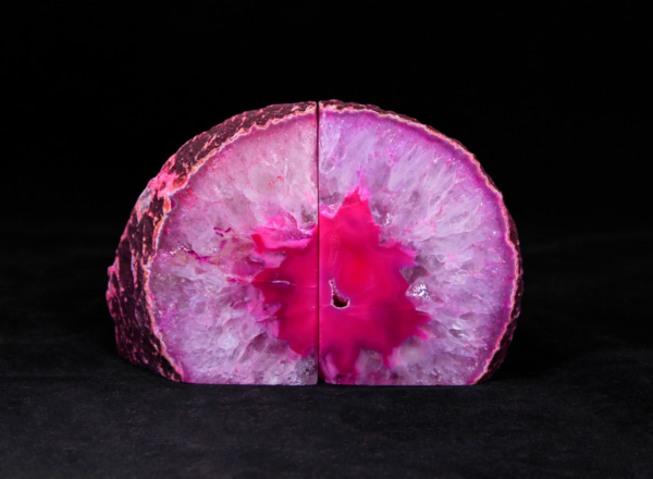 Pair of Medium Pink Agate Bookends