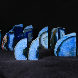 Blue Dyed Agate Bookends, Medium