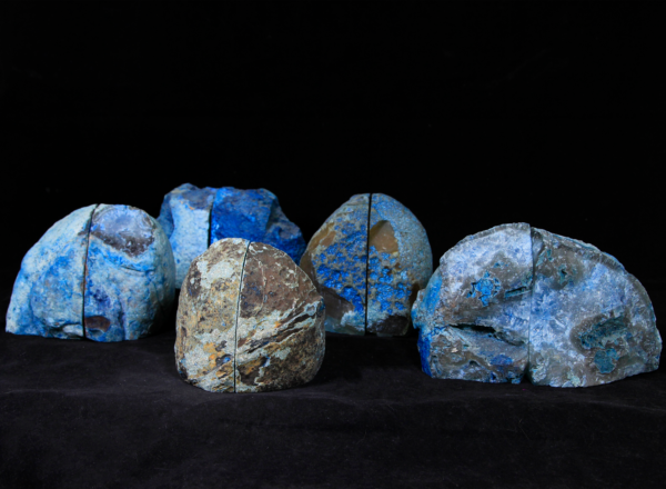 Five Pairs of Medium Blue Agate Bookends