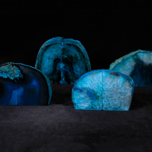 Teal/Green Dyed Agate Bookends, Medium