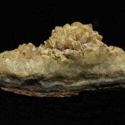 Small Yellow Amethyst Crystal Cluster in green rock matrix