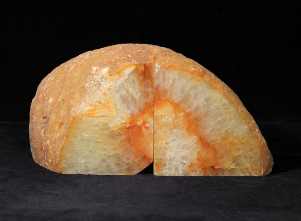 Large Orange Agate Bookends