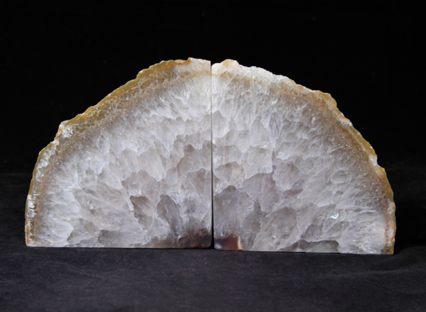 Large Yellow and White Agate Bookends