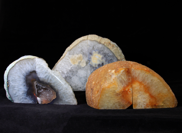 Three pairs of Large Agate Bookends