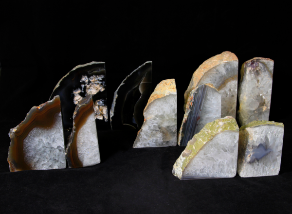 Five pairs of matching Agate bookends