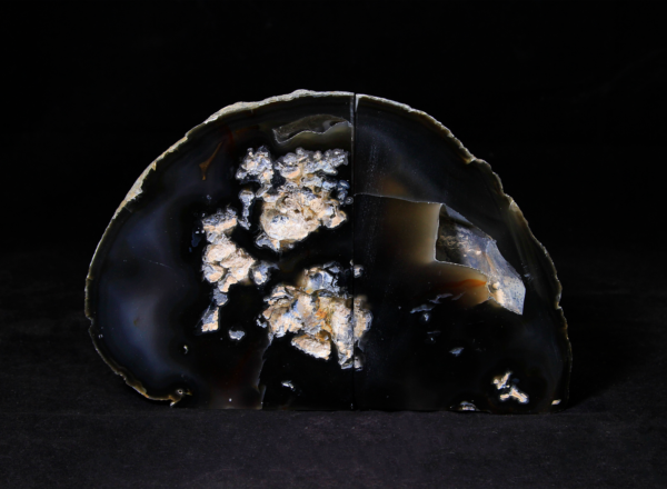 Pair of Black and White Agate Bookends